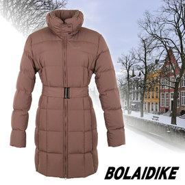 【波萊迪克 Bolaidike】 女 單件式中長版保暖透氣羽絨外套.夾克.雪衣.羽絨衣 褐 TF035