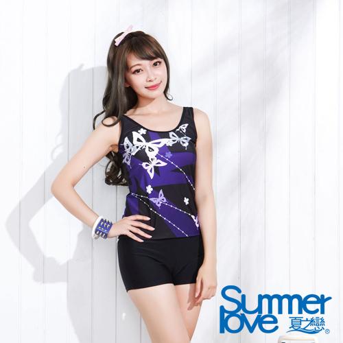 【夏之戀SUMMER LOVE】日系風格長版兩件式泳衣-加大碼(E15734)