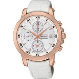 SEIKO Premier 戀羅馬計時碼錶-珍珠貝x玫瑰金框/37mm 7T92-0TG0P(SNDV66J1)