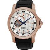 SEIKO Premier 24小時顯示開芯機械錶-玫瑰金框/41mm 4R39-00L0G(SSA278J1)
