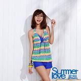 【SUMMERLOVE夏之戀】幾何彩條長版四件式泳衣(E15715)