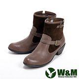 W&M (女)真皮質感環扣造型中筒靴-咖