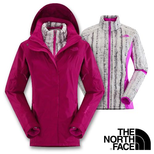 【美國 The North Face】女 熱賣款 Gore-Tex 兩件式外套(可拆式羽絨內件)_CUF1 紫紅