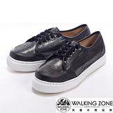 【WALKING ZONE】(女) 金蔥閃亮綁帶厚底增高休閒鞋-黑