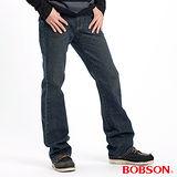 【BOBSON】男款鬼爪立體褶痕小喇叭褲(藍1653-52)