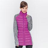 TOP GIRL 立領拼接長版羽絨外套-紫紅