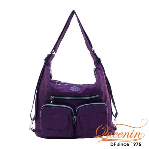 DF Queenin - 休閒系必買多功能原色3用後背包-深紫