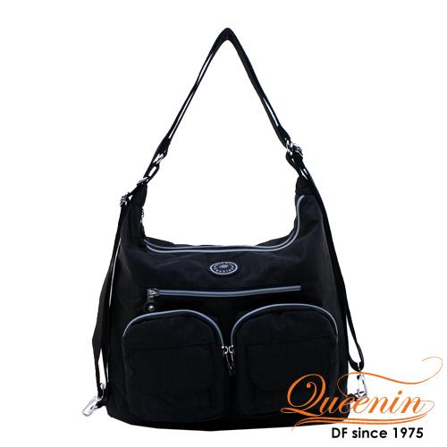 DF Queenin - 休閒系必買多功能原色3用後背包-黑色