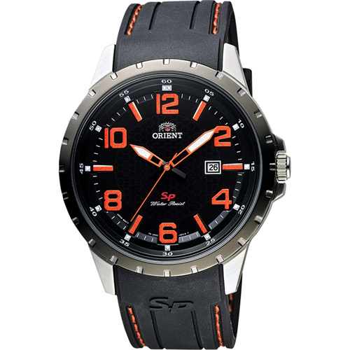 ORIENT 東方錶 SP 系列 冒險家運動石英錶-黑x橘時標/44mm FUNG3004B
