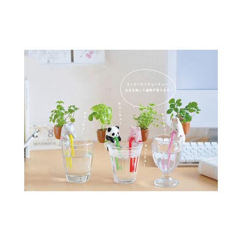 【PS Mall】動物喝水盆栽 桌面迷你綠植物_小貓 (J1447)