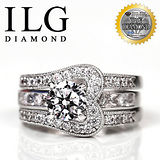 【ILG鑽】頂級八心八箭擬真鑽石戒指-環球小姐款 主鑽約75分 RI081 獨家華麗套戒可拆開