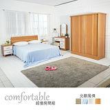 HAPPYHOME 達恩床片型6件房間組-床片+床底+床頭櫃2個+鏡台+衣櫃1WG5-40G+(3W*2)+4W二色可選-不含床墊