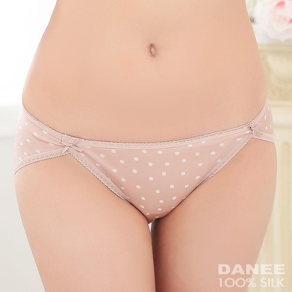 【岱妮蠶絲】LA0028FE純蠶絲42針70G雙蝴蝶結低腰高衩內褲(粉底白點)