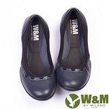 W&M (女)SOFIT 科技纖維布料舒適透氣彈性鬆緊帶健塑女鞋-深藍