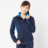 TOP GIRL 配色針織運動連帽外套-藍