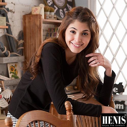 HENIS 時尚女速暖絨彈性圓領保暖衫~2件組(黑)