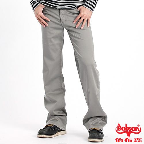 【BOBSON】男款植絨貼合布保暖直筒褲 灰1730-72