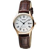 ORIENT 東方錶 優雅復刻羅馬數字石英女錶-白x玫瑰金框/28mm FSZ3N006W