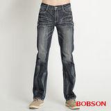 BOBSON 男款仿皮繡花中直筒褲(藍1735-53)
