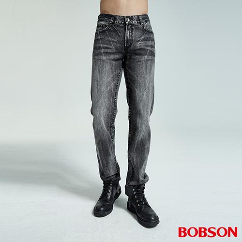 BOBSON 男款仿皮繡花中直筒褲(藍1735-87)