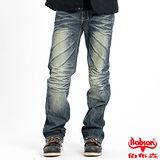 BOBSON 男款立體刷紋中直筒褲(藍1739-52)