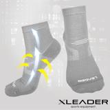 【LEADER】COOLMAX 運動專用薄型除臭機能襪 男款(灰色)