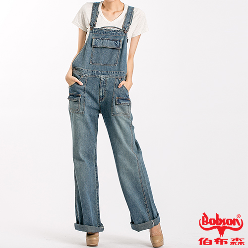 BOBSON 女款低腰刷白牛仔吊帶褲(淺藍D727-58)