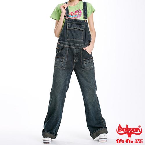 BOBSON 女款低腰刷白牛仔吊帶褲(D727-52)