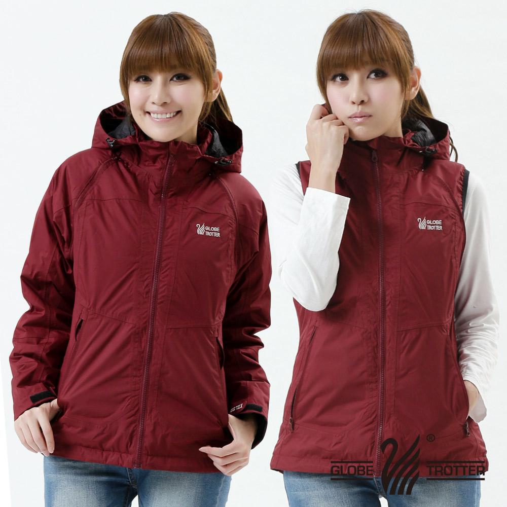【遊遍天下】Globetex女款JIS90%羽絨背心外套兩穿防風防水機能羽絨外套A095暗紅