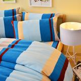 Pure One 超保暖搖粒絨-北歐條紋-藍-雙人四件式床包被套組