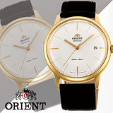ORIENT 東方錶DATE系列 巨蛋玻璃機械錶 皮帶款 FER2400JW 金色 - 40.5mm