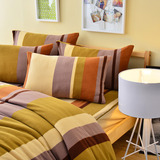 Pure One 超保暖搖粒絨-北歐條紋-咖-加大四件式床包被套組