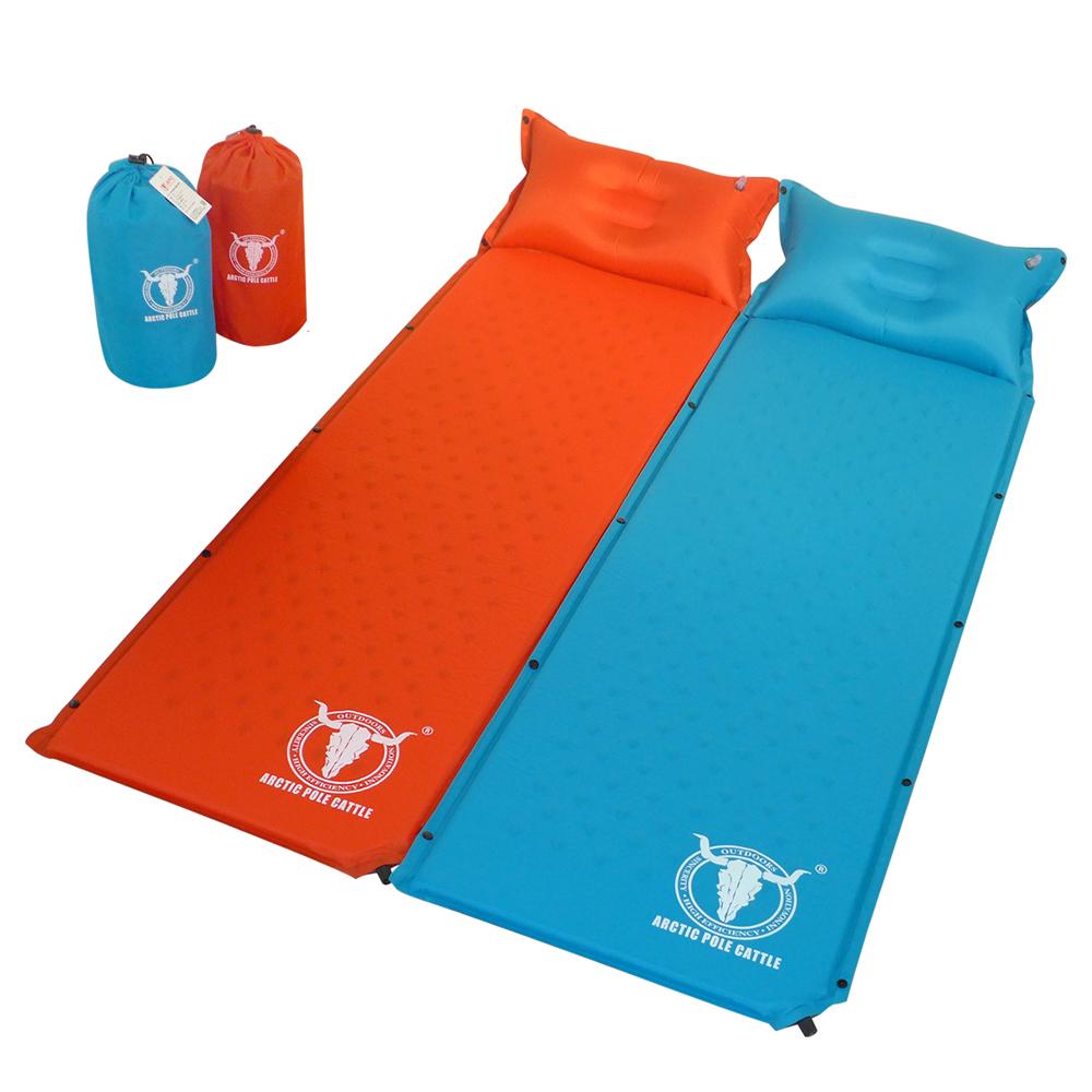 【APC】可拼接自動充氣睡墊-帶自充式頭枕-厚2.5cm-藍色/桔紅色 (2入組)