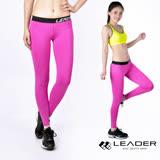 【Leader】女性專用 DotFit運動壓縮緊身褲(紫底大點)