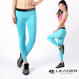 【Leader】女性專用 DotFit運動壓縮緊身褲(藍底大點)