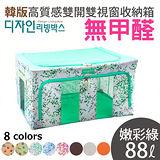 韓版無甲醛高質感雙視窗雙開收納箱-88公升-耐重雙U型鍍鋅鋼條~波漾花點系列-嫩彩綠