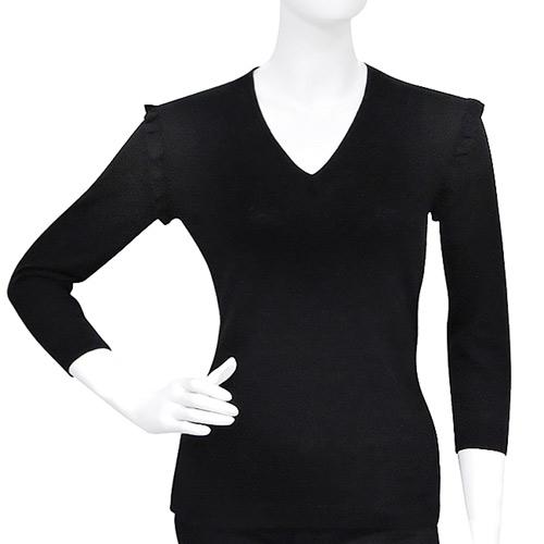 BURBERRY 羊毛V領針織七分袖上衣-黑色【S號】