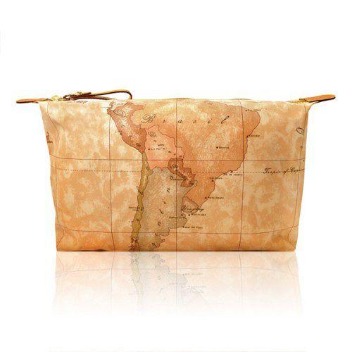 Alviero Martini 義大利地圖包 拉鍊尼龍化裝包-地圖黃(大)