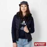 5th STREET 雙門襟蕾絲連帽羽絨背心-女-丈青色