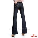 (女)BRAPPERS 女款 新美腳Royal系列-女用彈性寬版大喇叭褲-水洗藍