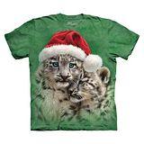 【摩達客】(預購) 美國進口The Mountain 聖誕雪豹 純棉環保短袖T恤