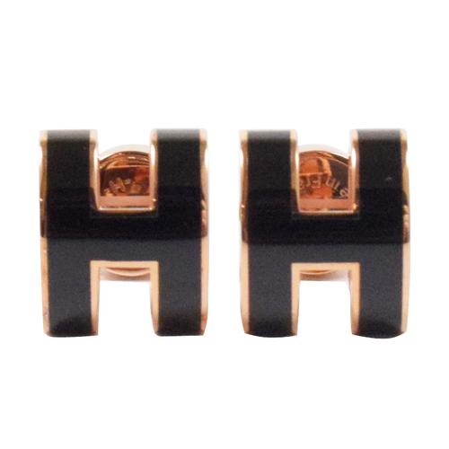 HERMES 時尚配件經典H LOGO橢圓銀飾耳環.玫瑰金/黑
