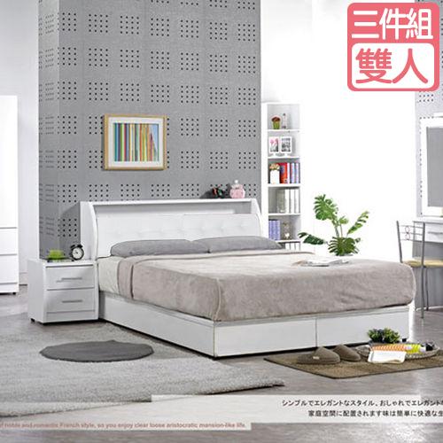 【愛麗娜】Lavender白色5尺三件房間組 (床頭箱+床底+獨立筒床墊)