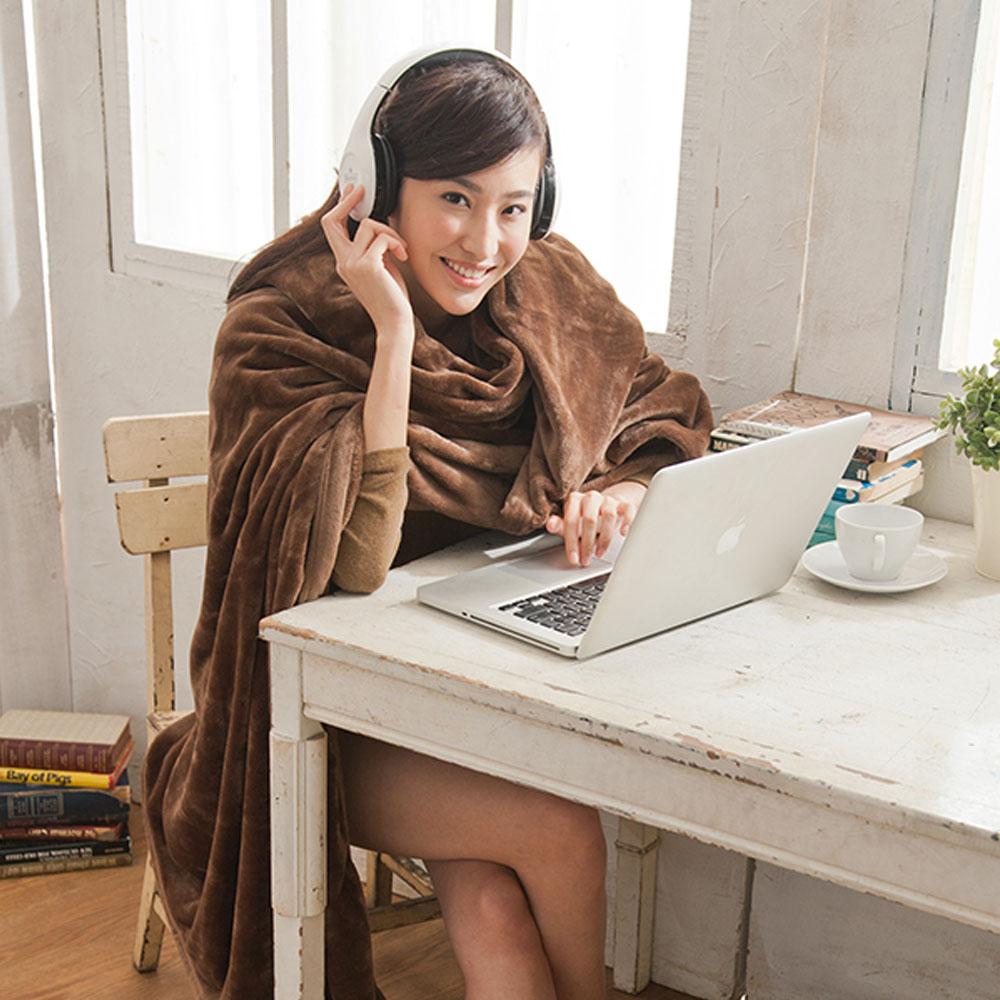 【HL 生活家】高質感法蘭絨萬用毯-超大加厚版180*200公分(咖啡色)