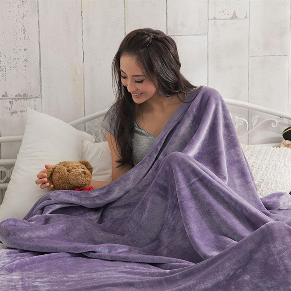 【HL 生活家】高質感法蘭絨萬用毯-超大加厚版180*200公分(淺紫色)