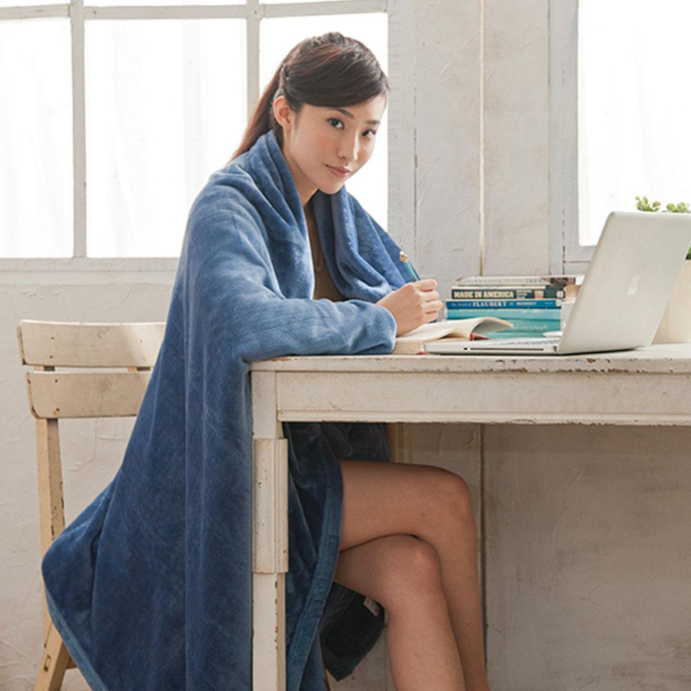 【HL 生活家】高質感法蘭絨萬用毯-超大加厚版180*200公分(深海藍)