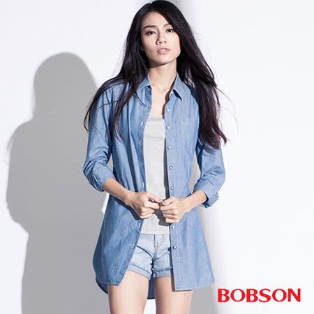 BOBSON    女款長版綁帶襯衫 (35099-58)
