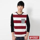 5th STREET 條紋口袋長袖T恤-男-紅色