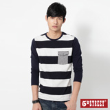 5th STREET 條紋口袋長袖T恤-男-丈青色