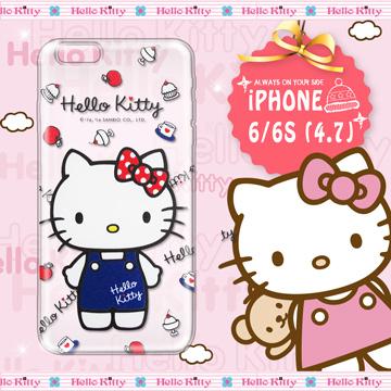 三麗鷗SANRIO正版授權 Hello Kitty iPhone 6/6S 4.7吋 凱蒂樂園系列 透明軟式手機殼(甜心凱蒂)